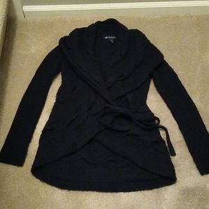 INC black cabled, wrap sweater